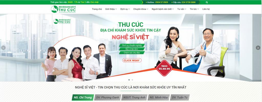 mẫu thiết kế web phòng khám phụ sản Thu Cúc