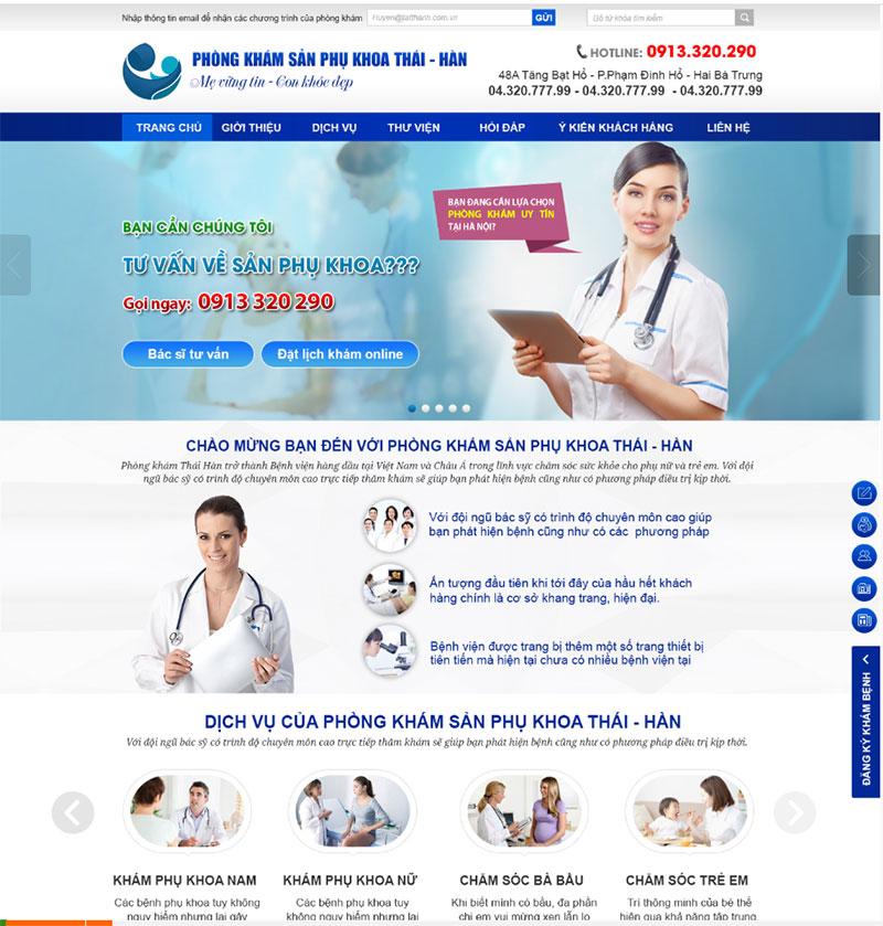 thiết kế web phòng khám phụ sản