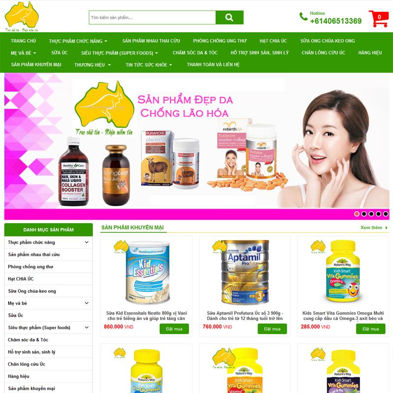 thiết kế web bán thực phẩm chức năng chuyên nghiệp