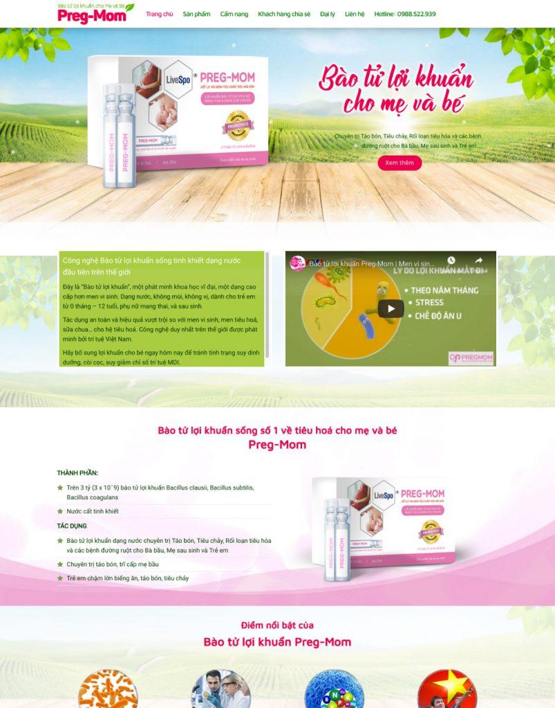 mẫu thiết kế web bán thực phẩm chức năng