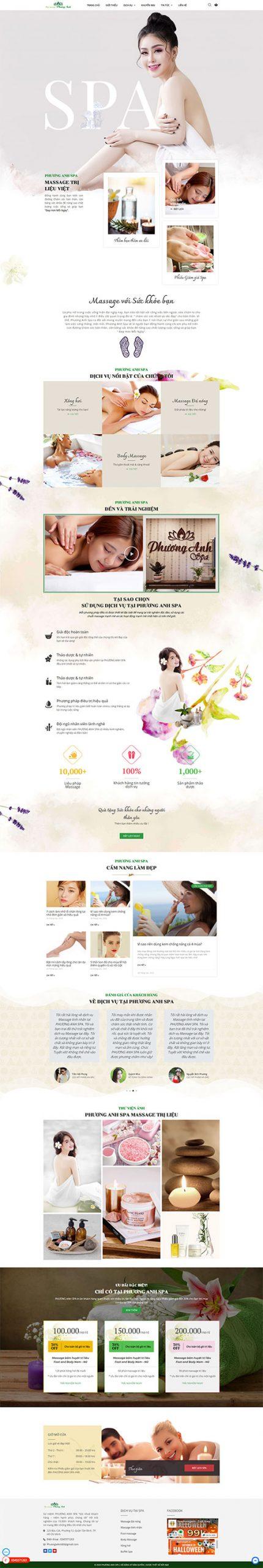 Mẫu web Spa Phương Anh | Massage Trị Liệu Việt