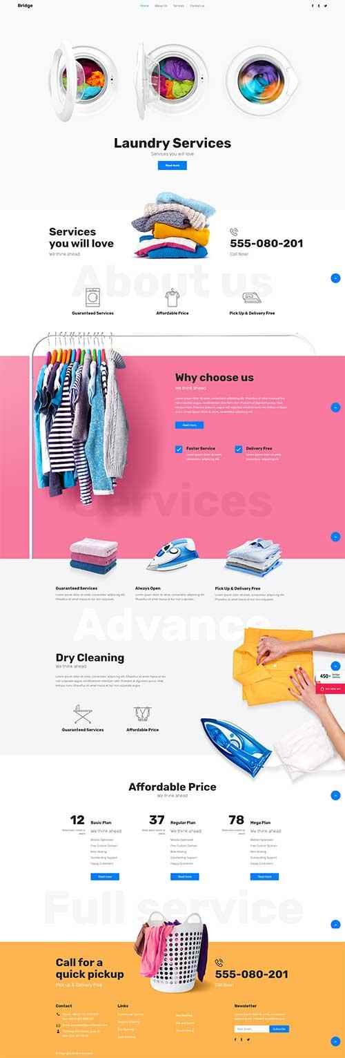 Giao diện web Dịch vụ giặt là chuyên nghiệp