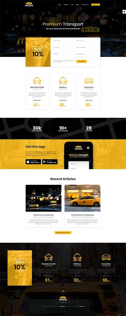 Mẫu website Dịch vụ taxi tận tâm chuyên nghiệp