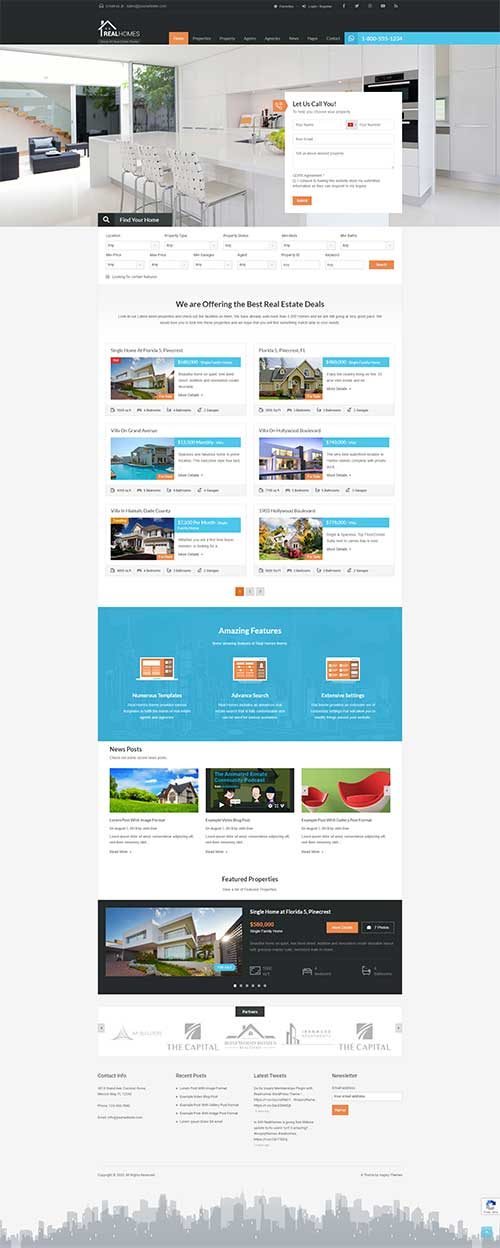 Mẫu web Bất động sản nhiều dự án đẹp