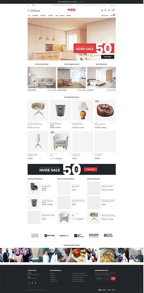 Website Showroom Nội Thất Sang Trọng Porto