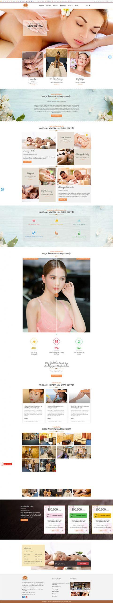 Mẫu web Spa Ngọc Ánh | Massage Lưu Giữ Vẻ Đẹp Việt