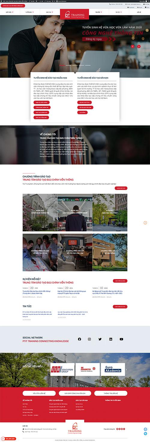 Mẫu website Trung Tâm Đào Tạo Học Viện Bưu Chính Viễn Thông