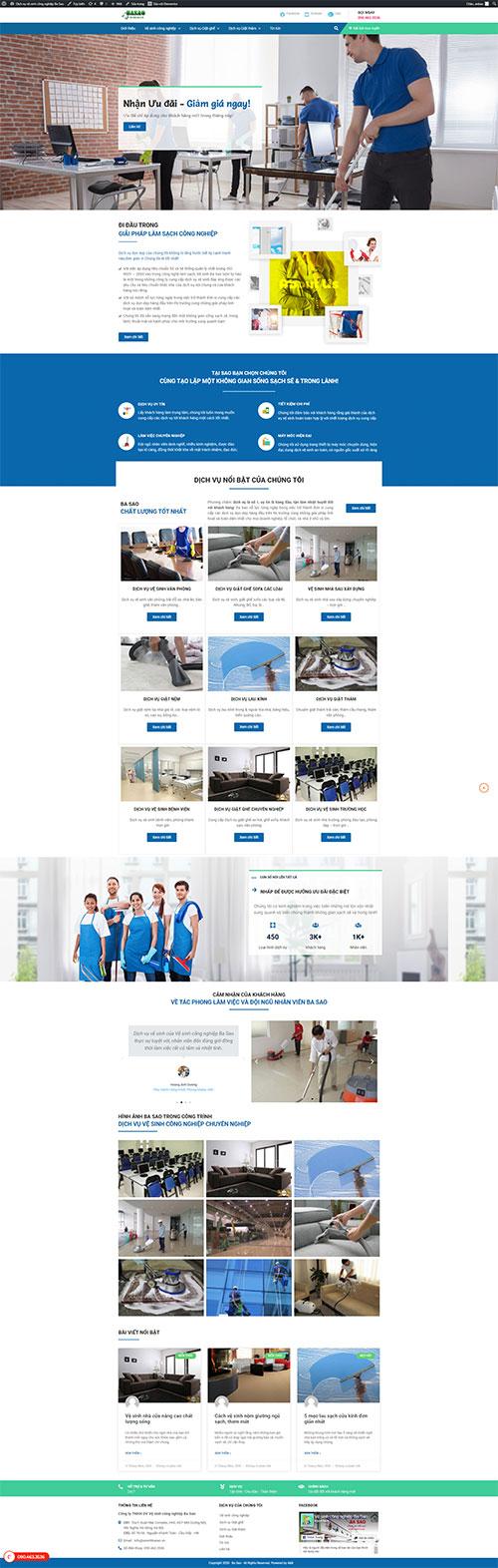 Giao diện website Vệ sinh công nghiệp Ba Sao