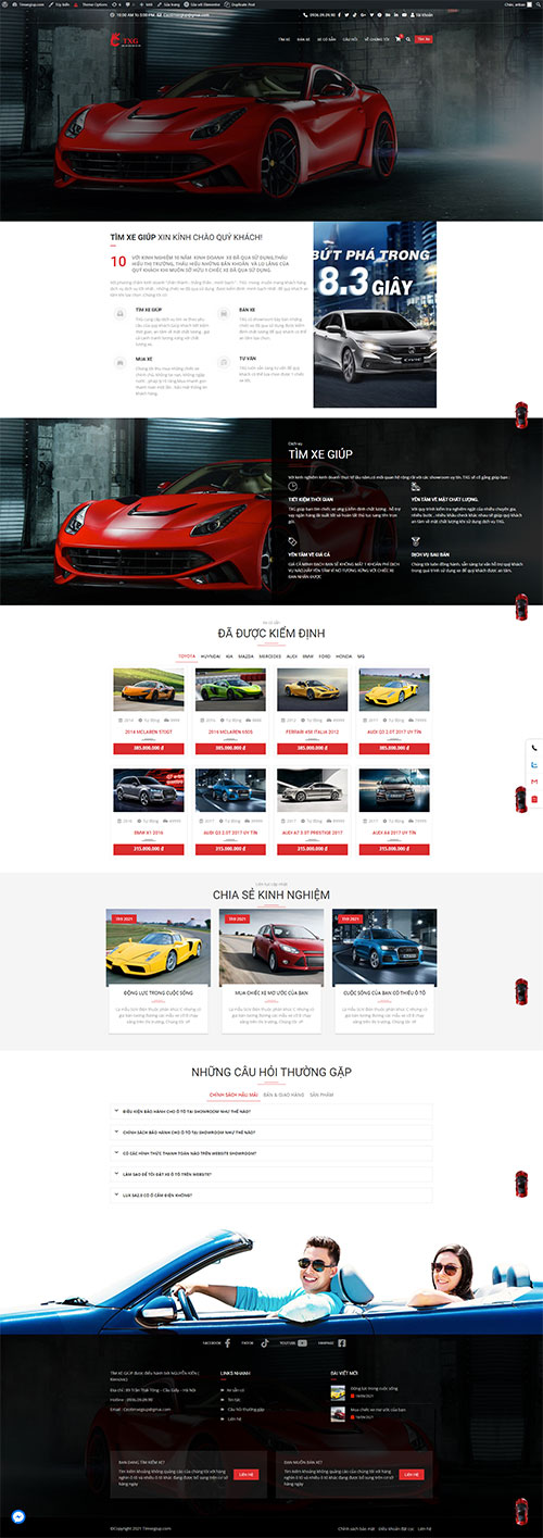 Thiết kế website Mua bán xe ô tô cũ đẹp sang trọng
